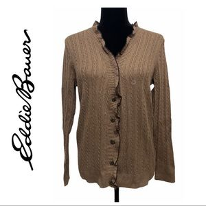 Eddie Bauer Brown Cable Knit Cardigan Sweater